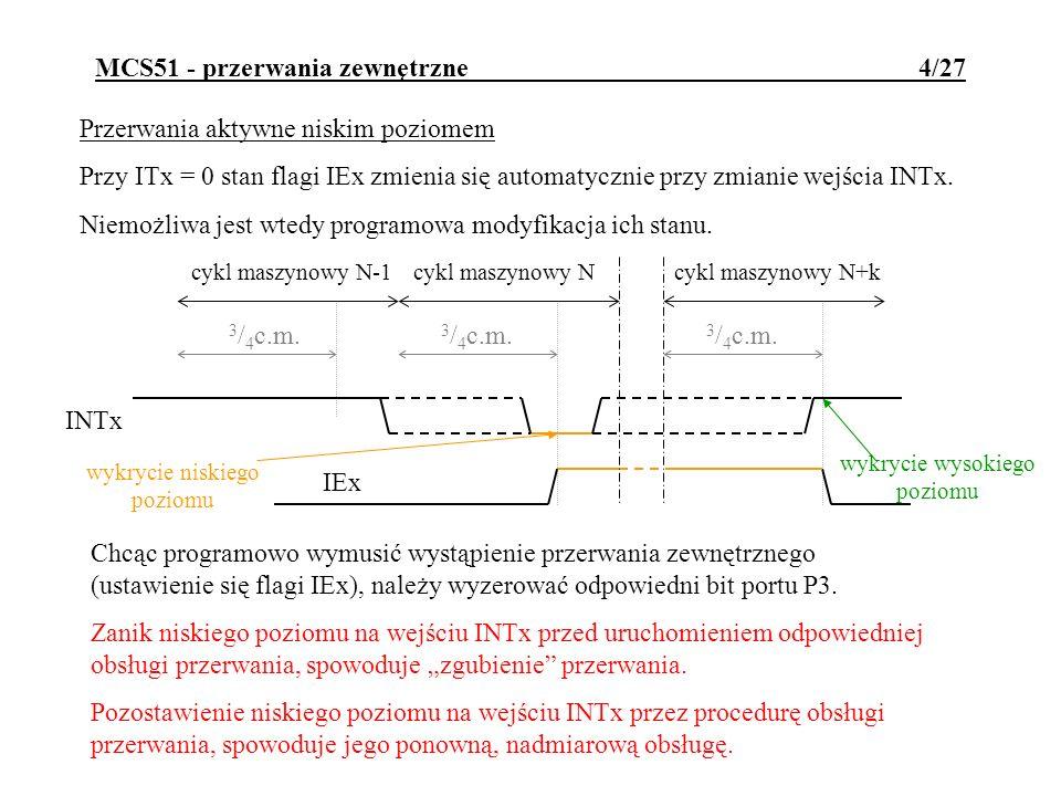 MCS51 - przerwania zewnętrzne 4/27 Przerwania aktywne niskim poziomem Przy ITx = 0 stan flagi IEx zmienia się automatycznie przy zmianie wejścia INTx.