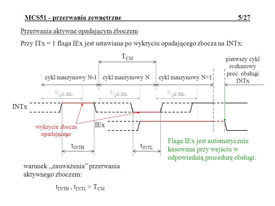 MCS51 - przerwania zewnętrzne 5/27 Przerwania aktywne opadającym zboczem Przy ITx = 1 flaga IEx jest ustawiana po wykryciu opadającego zbocza na INTx: