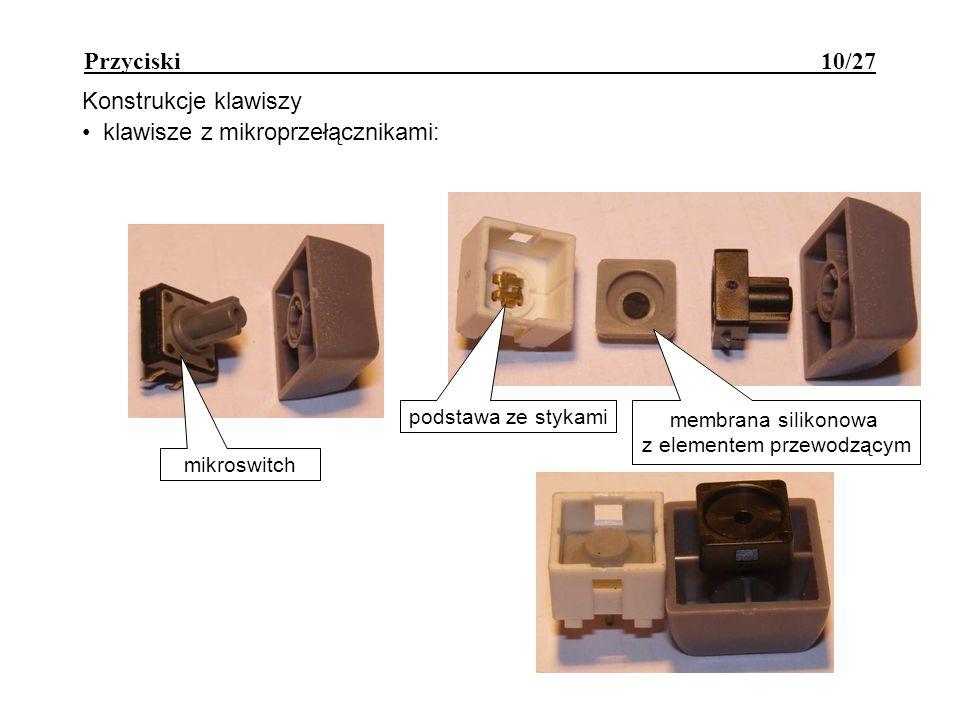 Przyciski 10/27 Konstrukcje klawiszy klawisze z mikroprzełącznikami: mikroswitch podstawa ze stykami membrana silikonowa z elementem przewodzącym