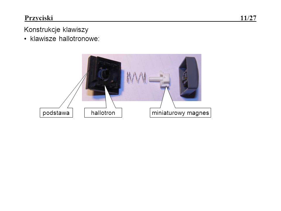 Przyciski 11/27 Konstrukcje klawiszy klawisze hallotronowe: podstawa hallotron miniaturowy magnes