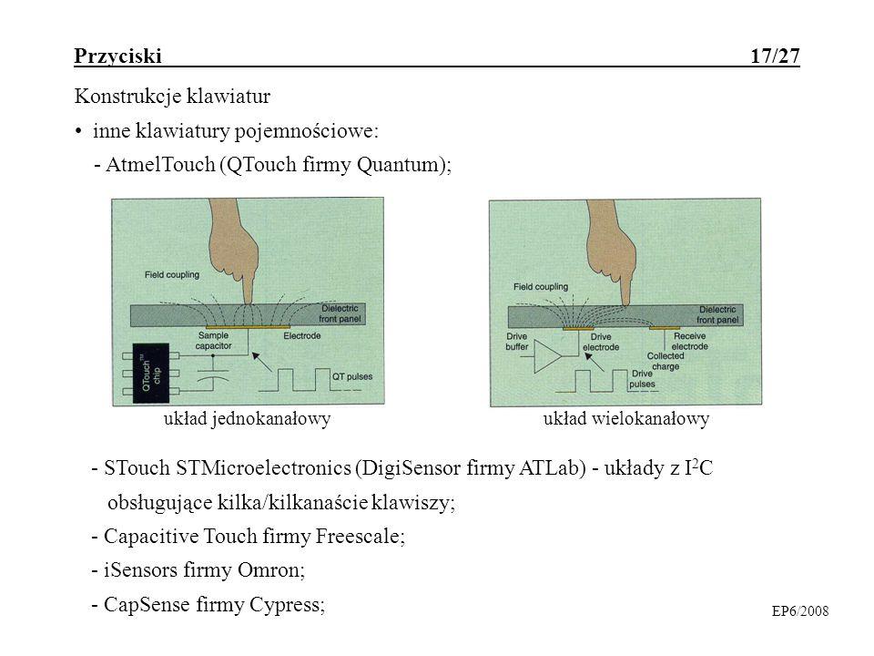 Przyciski 17/27 Konstrukcje klawiatur inne klawiatury pojemnościowe: - AtmelTouch (QTouch firmy Quantum); EP6/2008 - STouch STMicroelectronics (DigiSe