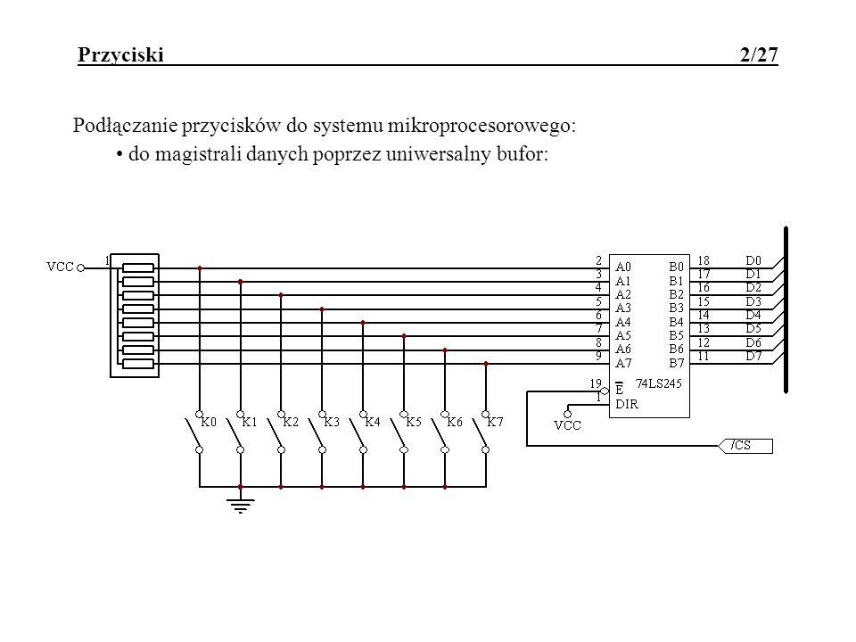 Klawiatura - DB-DSP 23/27 Pakiet DBDSP klawiatury i wyświetlacza LED, zawiera: matrycę 24 klawiszy na mikroprzełącznikach monostabilnych; uniwibrator zabezpieczający przed przepaleniem wyświetlaczy LED ogranicza czas trwania impulsu (do 660-700μs) pobudzającego wybraną kolumnę matrycy klawiszy; układ 8255 jako zestaw portów obsługujących klawiaturę i wyświetlacz; lokalny dekoder adresów GAL16V8, rozpoznający adresy: 8000h - odczyt/zapis portu PA 8255 - nie używany 8001h - odczyt/zapis portu PB 8255 - sterowanie segmentami 8002h - odczyt/zapis portu PC 8255: PC3..PC0 - odpowiedź z klawiatury, PC6..PC4 - numer pobudzanej kolumny matrycy, PC7 - przejście 1->0 włącza uniwibrator 8003h - odczyt rejestru stanu/zapis rejestru sterującego 8255 80FFh - wymuszenie resetu sprzętowego 8255