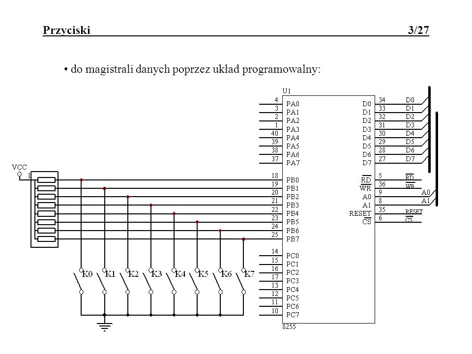 Klawiatura - DB-DSP 24/27 #include // program skanujacy klawiature do tablicy klawiatura unsigned char xdata segmenty _at_ 0x8001; unsigned char xdata klawisze _at_ 0x8002; unsigned char xdata sterowanie _at_ 0x8003; unsigned char xdata resetDBDSP _at_ 0x80FF; unsigned char idata i,s; int idata k; unsigned char idata klawiatura[6]; void main (void) { resetDBDSP=0;//programowy reset 8255 na DBDSP sterowanie=0x91;//zainicjowanie 8255 do pracy segmenty=0;//wstepne wygaszenie segmentow klawisze=0x7f;