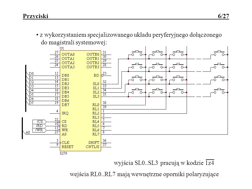 Klawiatura - DB-DSP 27/27 while (1) { for (k=1; k<100; k++); // pobudzenie kolejnej kolumny klawiatury klawisze=i*16 + 0x80; // wyslanie strobu startu dla uniwibratora klawisze=i*16; // krotkie opoznienie czasowe for (k=1; k<100; k++); // odczyt odpowiedzi z klawiatury do tablicy klaw=klawisze & 0x0F; // porownanie z odczytem poprzednim if (klaw == tmpklaw[i]) klawiatura[i]=klaw;//stan ustalony else tmpklaw[i]=klaw;//stan przejsciowy // zmiana numeru pozycji i=(i+1) % 6; }