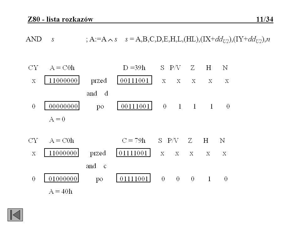 Z80 - lista rozkazów 11/34 AND s; A:=A s s = A,B,C,D,E,H,L,(HL),(IX+dd U2 ),(IY+dd U2 ),n