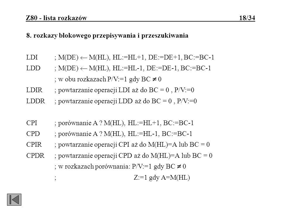 Z80 - lista rozkazów 18/34 8. rozkazy blokowego przepisywania i przeszukiwania LDI; M(DE) M(HL), HL:=HL+1, DE:=DE+1, BC:=BC-1 LDD; M(DE) M(HL), HL:=HL