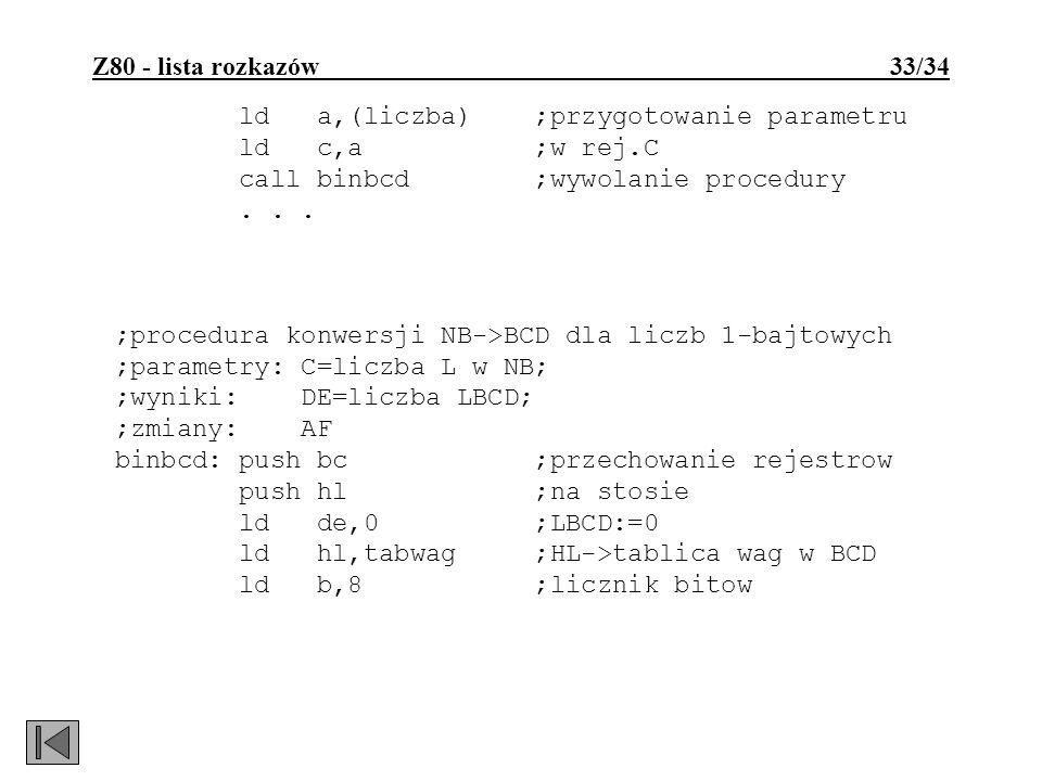 Z80 - lista rozkazów 33/34 ld a,(liczba) ;przygotowanie parametru ld c,a ;w rej.C call binbcd ;wywolanie procedury... ;procedura konwersji NB->BCD dla