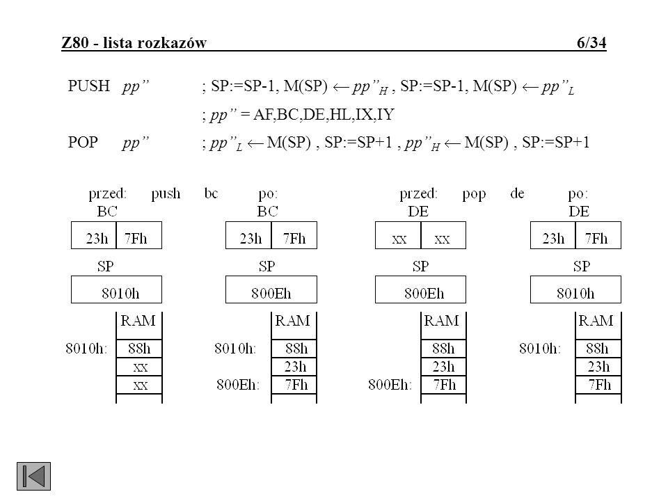 Z80 - lista rozkazów 6/34 PUSH pp; SP:=SP-1, M(SP) pp H, SP:=SP-1, M(SP) pp L ; pp = AF,BC,DE,HL,IX,IY POP pp; pp L M(SP), SP:=SP+1, pp H M(SP), SP:=S