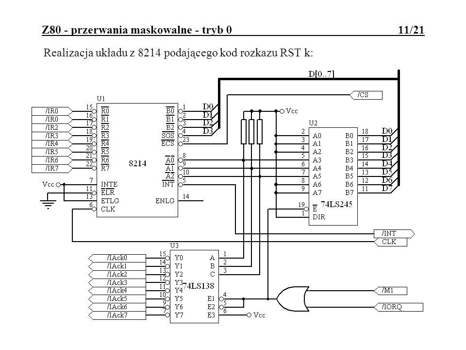 Z80 - przerwania maskowalne - tryb 0 11/21 Realizacja układu z 8214 podającego kod rozkazu RST k: