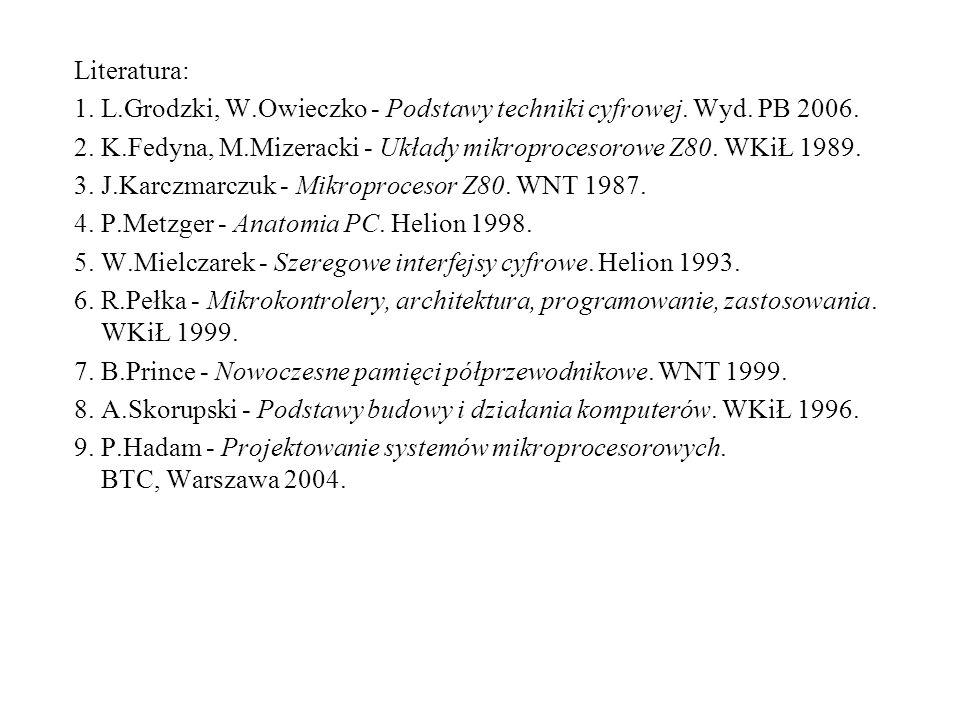 Literatura: 1. L.Grodzki, W.Owieczko - Podstawy techniki cyfrowej. Wyd. PB 2006. 2. K.Fedyna, M.Mizeracki - Układy mikroprocesorowe Z80. WKiŁ 1989. 3.