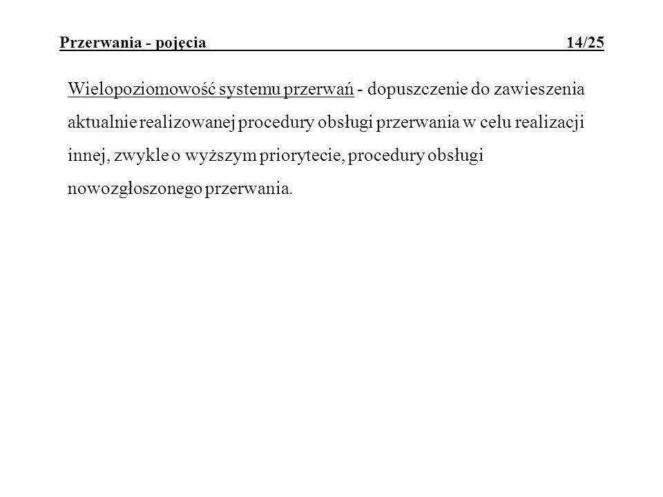 Przerwania - pojęcia 14/25 Wielopoziomowość systemu przerwań - dopuszczenie do zawieszenia aktualnie realizowanej procedury obsługi przerwania w celu