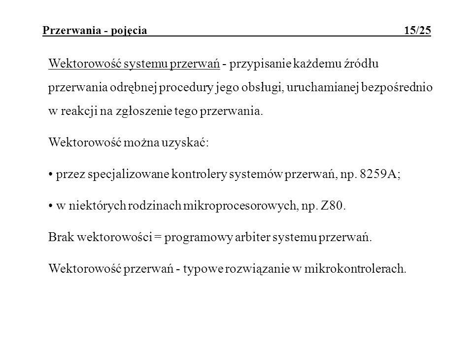 Przerwania - pojęcia 15/25 Wektorowość systemu przerwań - przypisanie każdemu źródłu przerwania odrębnej procedury jego obsługi, uruchamianej bezpośre