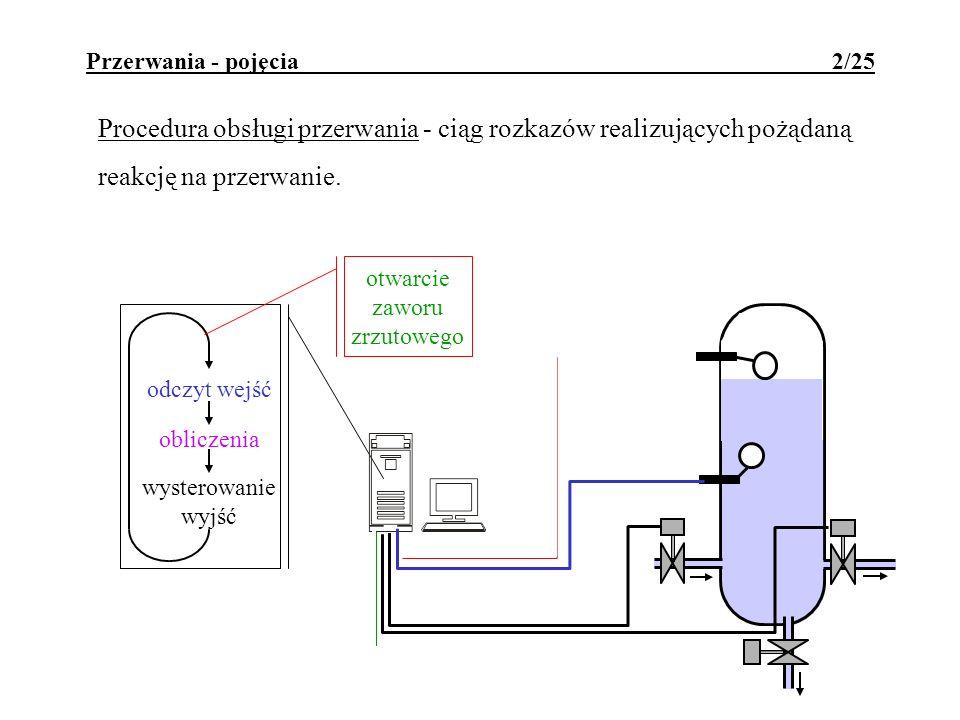 Przerwania - pojęcia 2/25 Procedura obsługi przerwania - ciąg rozkazów realizujących pożądaną reakcję na przerwanie. odczyt wejść obliczenia wysterowa