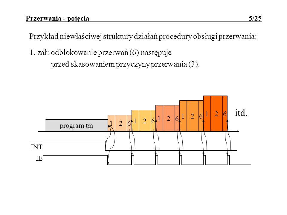 Przerwania - pojęcia 5/25 Przykład niewłaściwej struktury działań procedury obsługi przerwania: 1. zał: odblokowanie przerwań (6) następuje przed skas