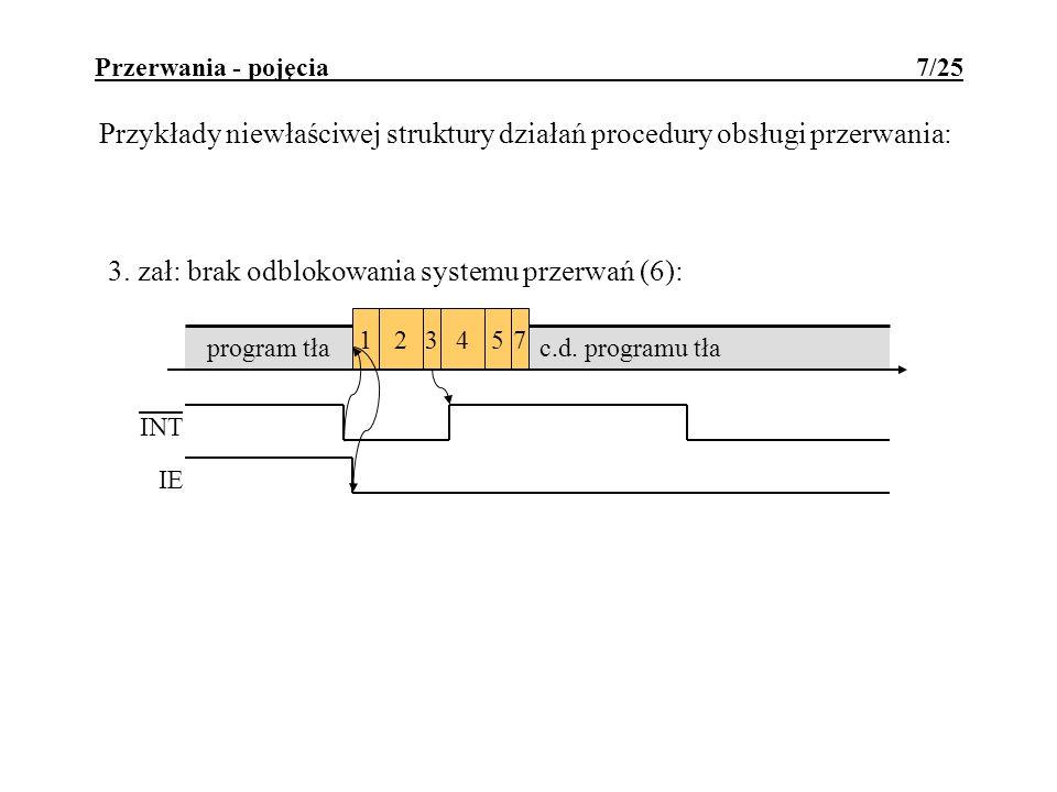 Przerwania - pojęcia 7/25 Przykłady niewłaściwej struktury działań procedury obsługi przerwania: c.d. programu tła 324571 program tła 3. zał: brak odb