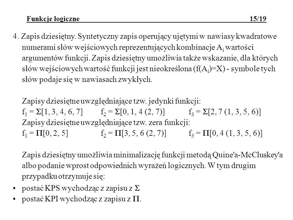 Funkcje logiczne 15/19 4. Zapis dziesiętny. Syntetyczny zapis operujący ujętymi w nawiasy kwadratowe numerami słów wejściowych reprezentujących kombin