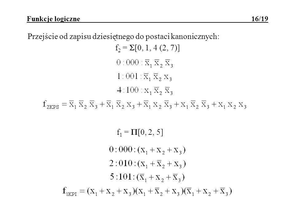Funkcje logiczne 16/19 Przejście od zapisu dziesiętnego do postaci kanonicznych: f 2 = [0, 1, 4 (2, 7)] f 1 = [0, 2, 5]