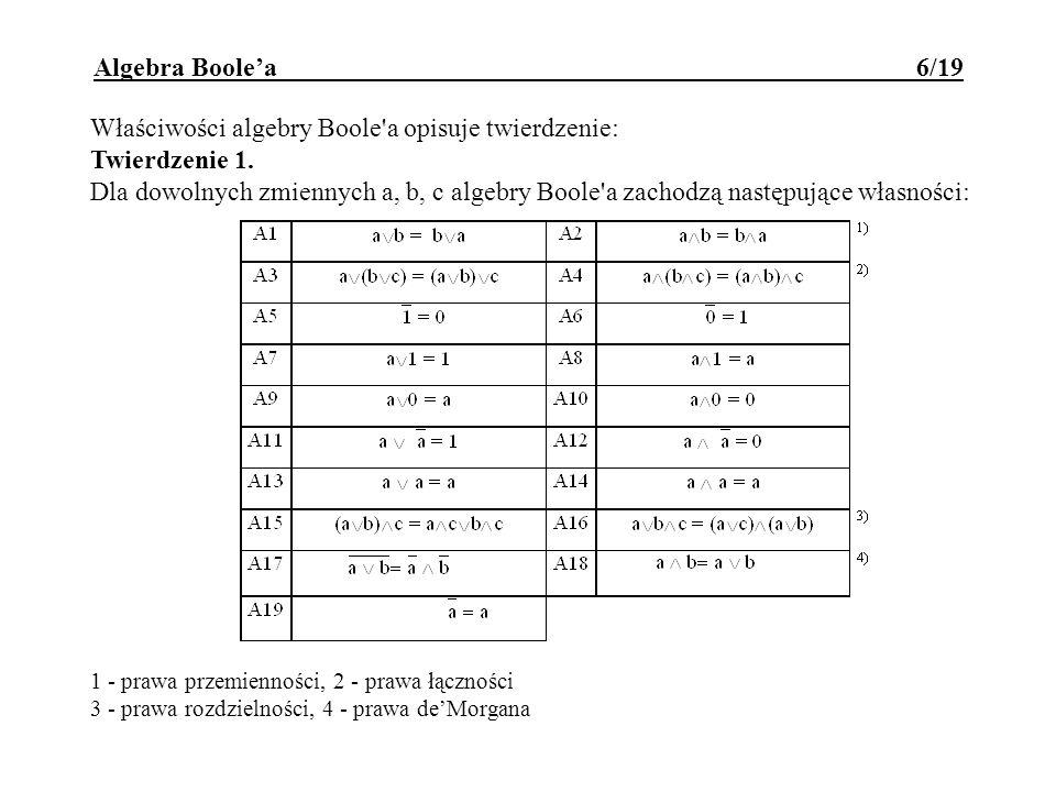 Właściwości algebry Boole'a opisuje twierdzenie: Twierdzenie 1. Dla dowolnych zmiennych a, b, c algebry Boole'a zachodzą następujące własności: 1 - pr