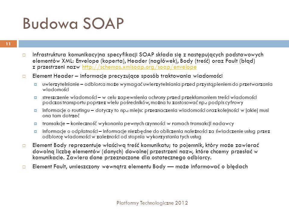 Budowa SOAP Platformy Technologiczne 2012 11 Infrastruktura komunikacyjna specyfikacji SOAP składa się z następujących podstawowych elementów XML: Env