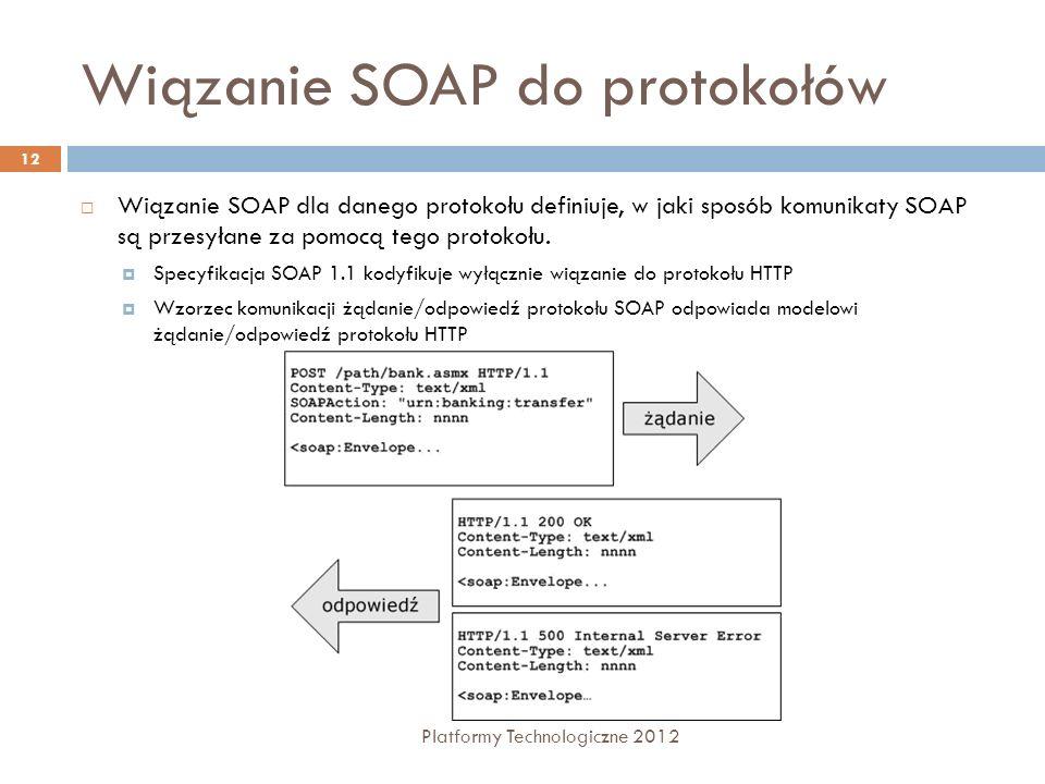 Wiązanie SOAP do protokołów Platformy Technologiczne 2012 12 Wiązanie SOAP dla danego protokołu definiuje, w jaki sposób komunikaty SOAP są przesyłane