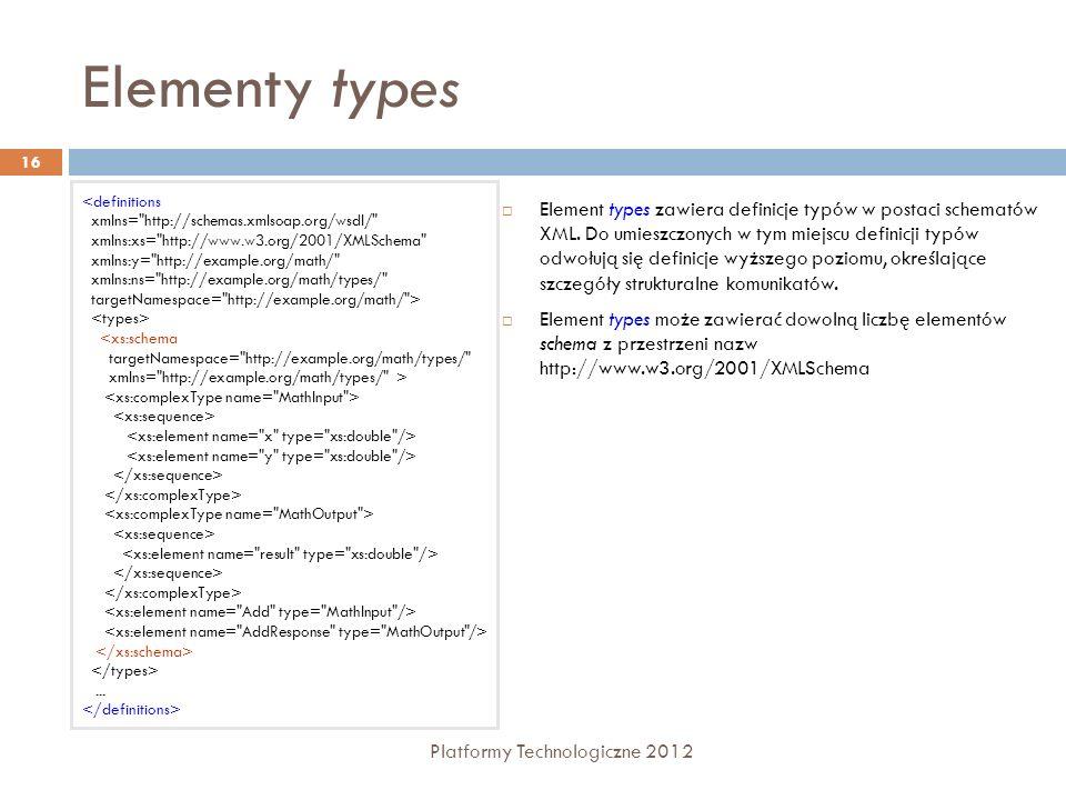 Elementy types Platformy Technologiczne 2012 16 Element types zawiera definicje typów w postaci schematów XML. Do umieszczonych w tym miejscu definicj