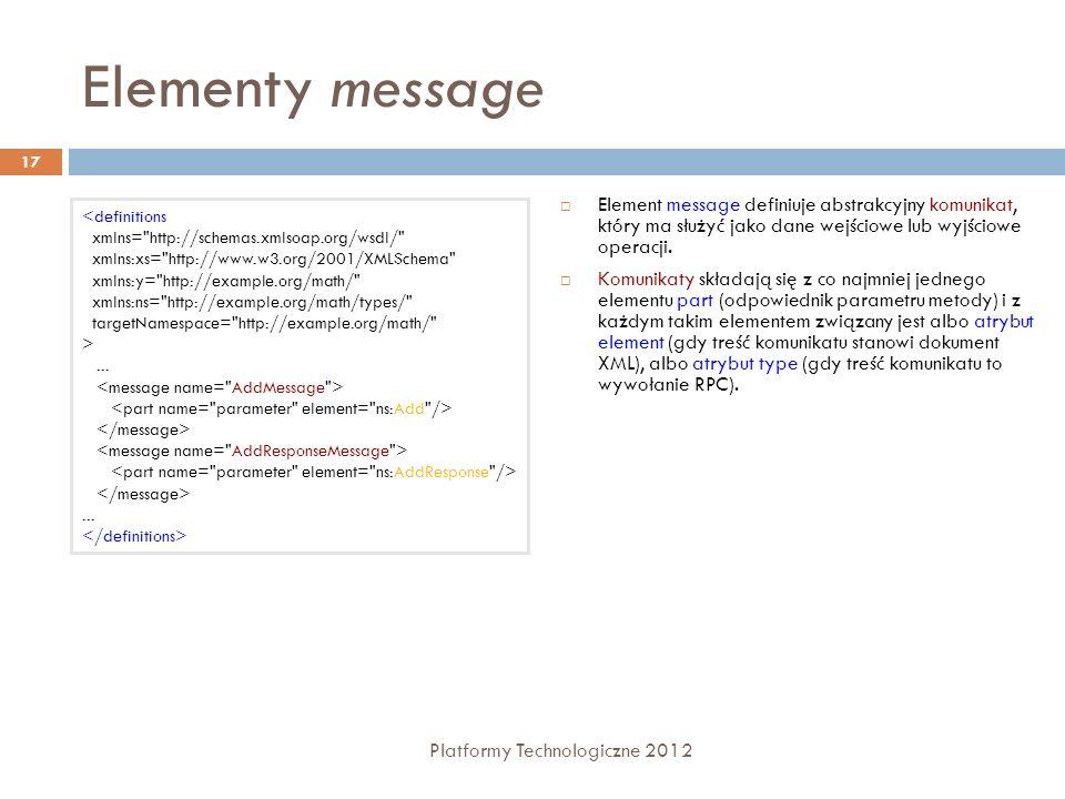 Elementy message Platformy Technologiczne 2012 17 Element message definiuje abstrakcyjny komunikat, który ma służyć jako dane wejściowe lub wyjściowe