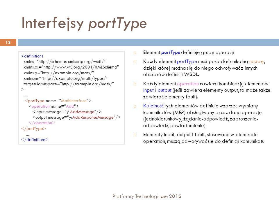 Interfejsy portType Platformy Technologiczne 2012 18 Element portType definiuje grupę operacji Każdy element portType musi posiadać unikalną nazwę, dz