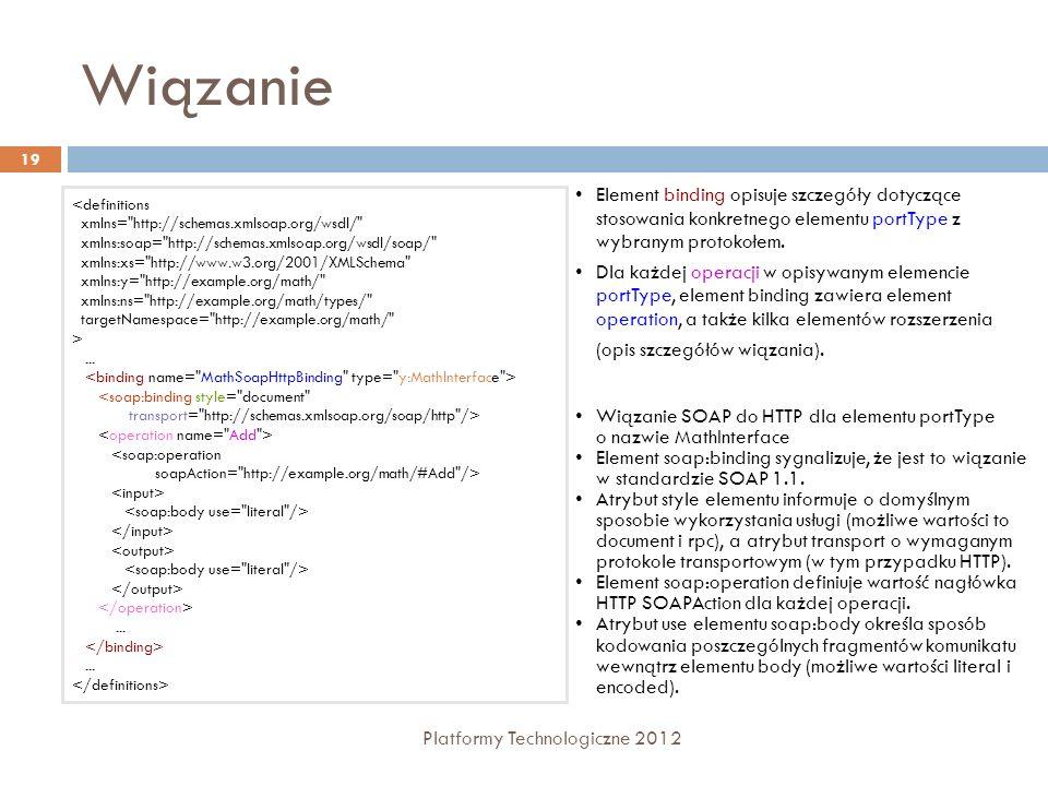 Wiązanie Platformy Technologiczne 2012 19 Element binding opisuje szczegóły dotyczące stosowania konkretnego elementu portType z wybranym protokołem.