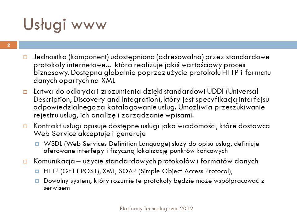 Usługi www Jednostka (komponent) udostępniona (adresowalna) przez standardowe protokoły internetowe... która realizuje jakiś wartościowy proces biznes
