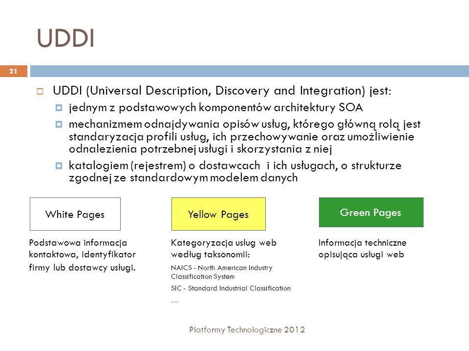 UDDI Platformy Technologiczne 2012 21 UDDI (Universal Description, Discovery and Integration) jest: jednym z podstawowych komponentów architektury SOA