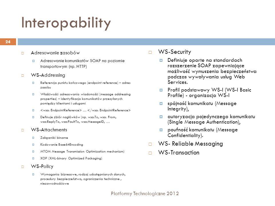 Interopability Adresowanie zasobów Adresowanie komunikatów SOAP na poziomie transportowym (np. HTTP) WS-Addressing Referencja punktu końcowego (endpoi