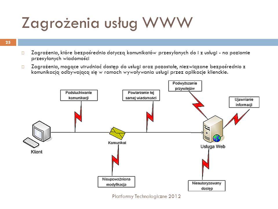 Zagrożenia usług WWW Platformy Technologiczne 2012 25 Zagrożenia, które bezpośrednio dotyczą komunikatów przesyłanych do i z usługi - na poziomie prze
