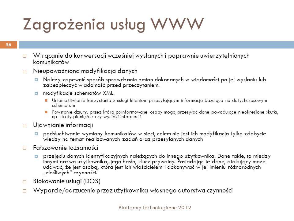 Zagrożenia usług WWW Platformy Technologiczne 2012 26 Wtrącanie do konwersacji wcześniej wysłanych i poprawnie uwierzytelnionych komunikatów Nieupoważ