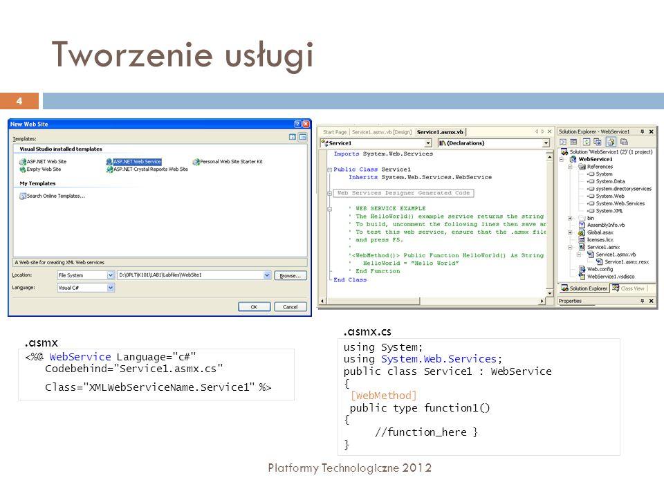 Tworzenie usługi Platformy Technologiczne 2012 4 using System; using System.Web.Services; public class Service1 : WebService { [WebMethod] public type