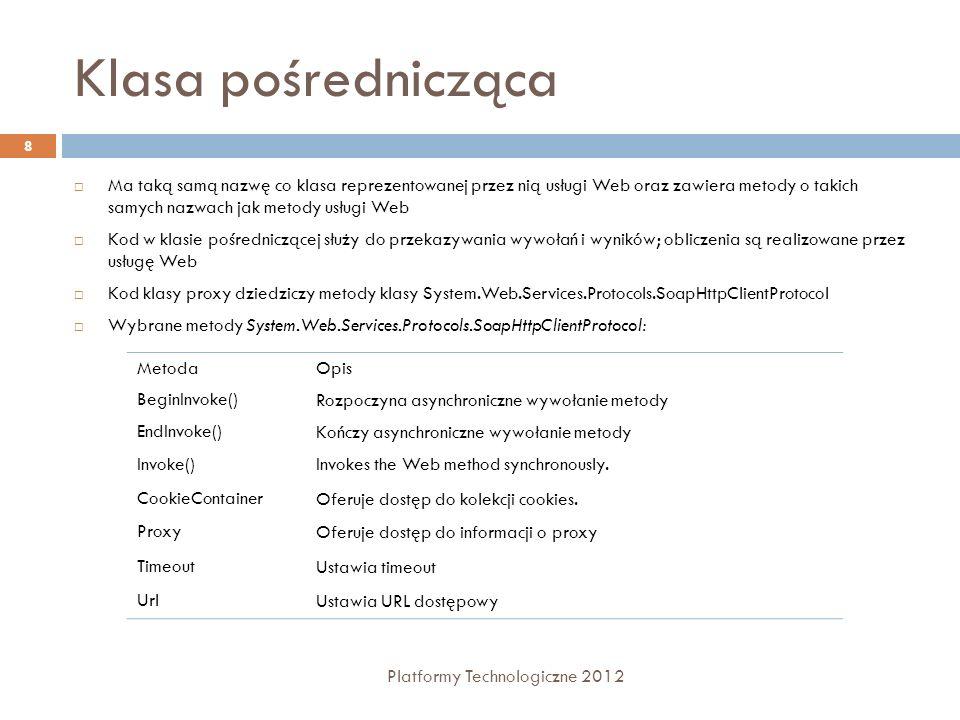 Klasa pośrednicząca Platformy Technologiczne 2012 8 Ma taką samą nazwę co klasa reprezentowanej przez nią usługi Web oraz zawiera metody o takich samy