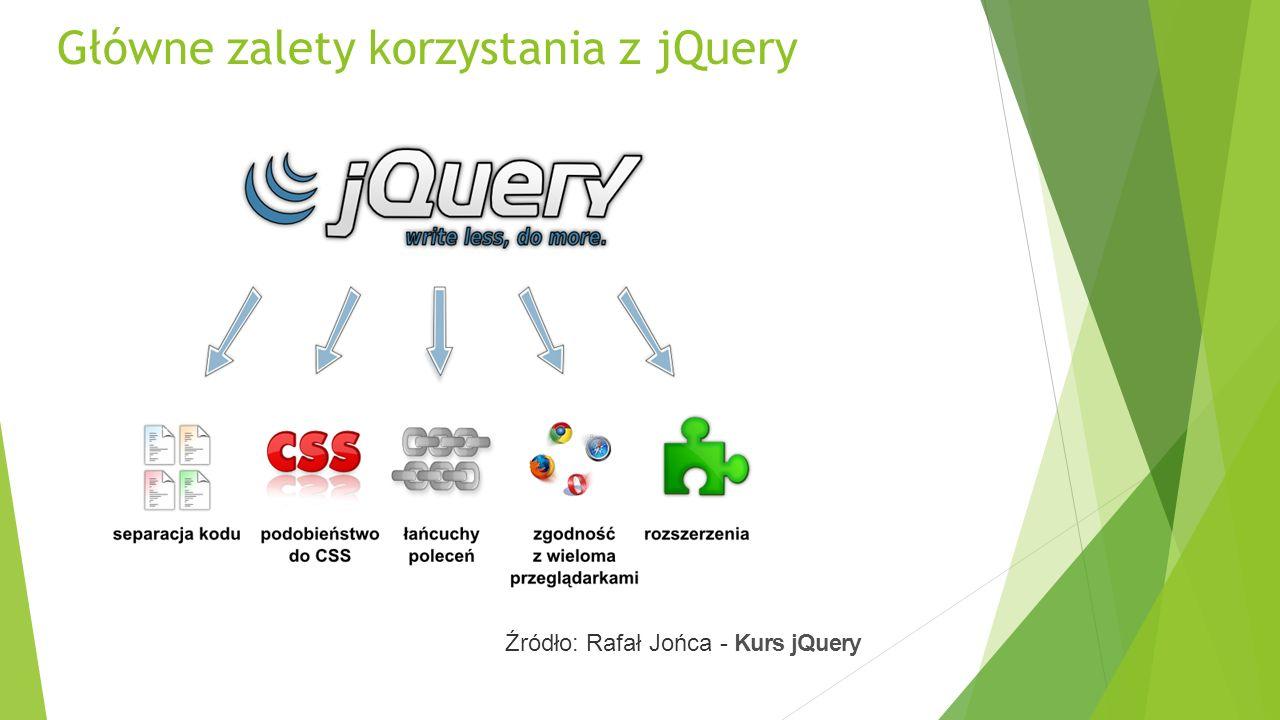 Główne zalety korzystania z jQuery Źródło: Rafał Jońca - Kurs jQuery