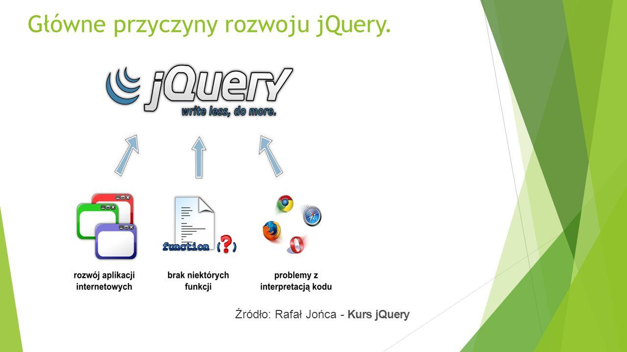 Główne przyczyny rozwoju jQuery. Źródło: Rafał Jońca - Kurs jQuery