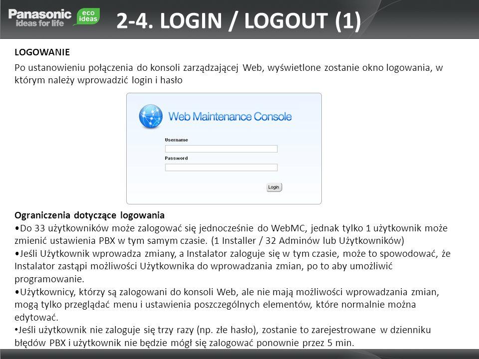 Ograniczenia dotyczące logowania Do 33 użytkowników może zalogować się jednocześnie do WebMC, jednak tylko 1 użytkownik może zmienić ustawienia PBX w