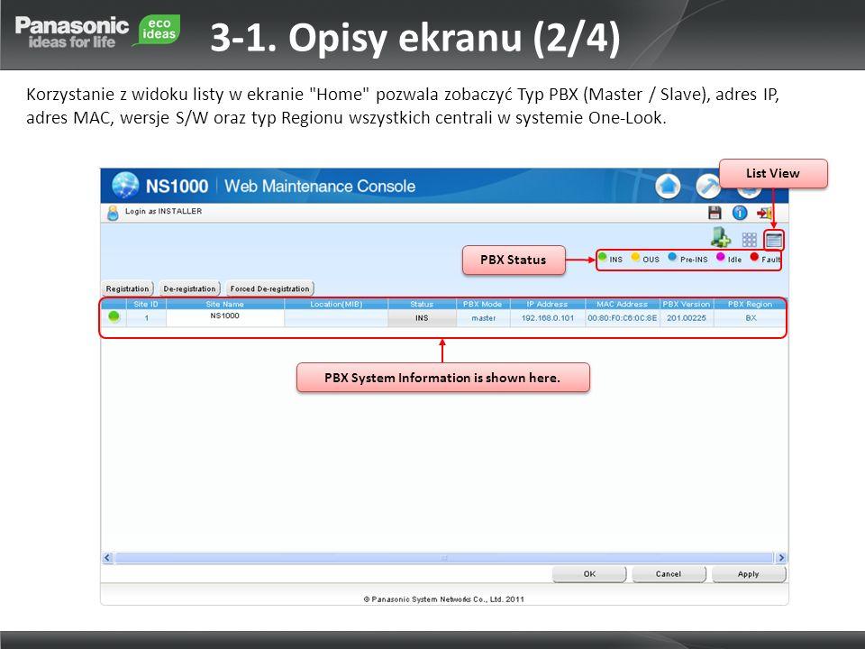 PBX System Information is shown here. PBX Status List View 3-1. Opisy ekranu (2/4) Korzystanie z widoku listy w ekranie