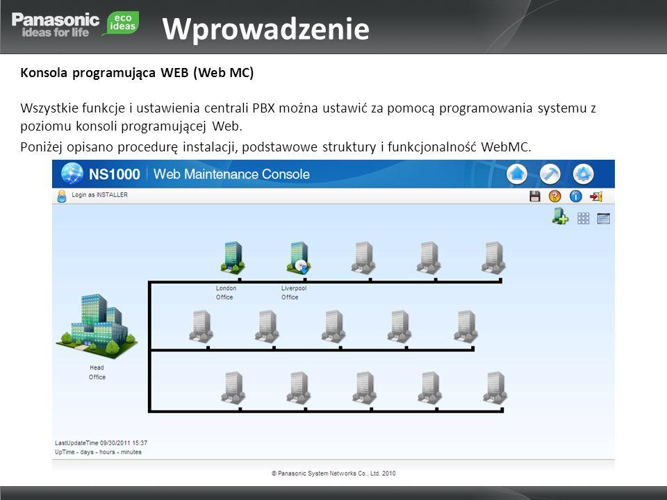 Wprowadzenie Konsola programująca WEB (Web MC) Wszystkie funkcje i ustawienia centrali PBX można ustawić za pomocą programowania systemu z poziomu kon