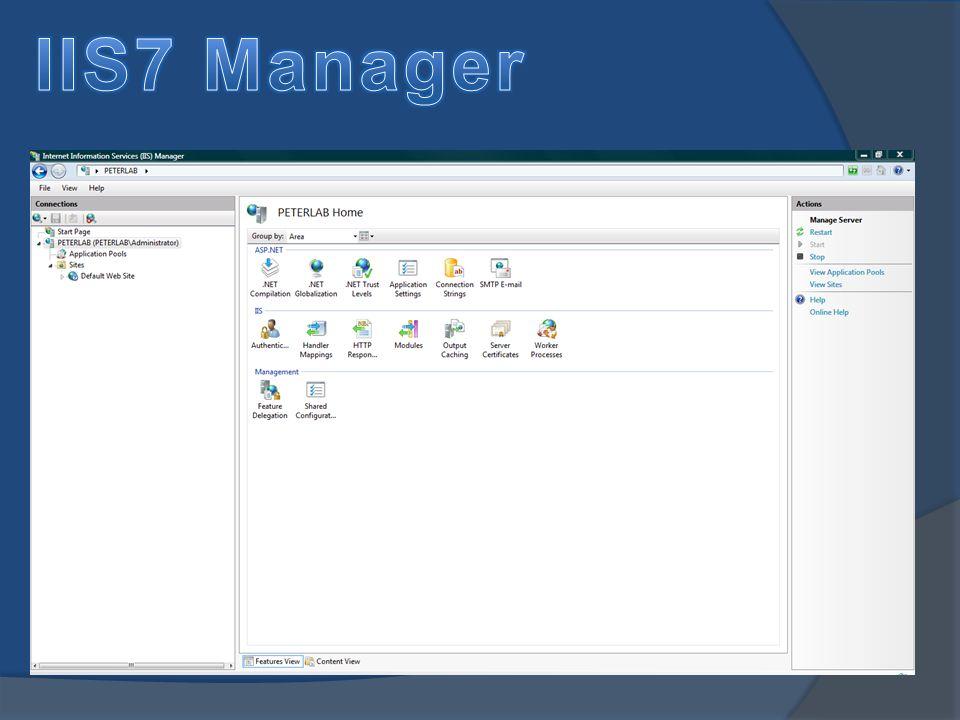 Best Practices Przyjąć należy, że najpierw konfiguruje się opcje dostępne z poziomu serwera, a dopiero później dostępne z poziomu site.