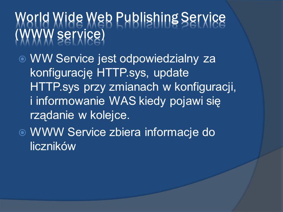 Windows Process Activation Service (WAS) Używa tej samej konfiguracji i modelu przetwarzania jak dla HTTP Opcjonalnie można odpalić WAS bez startowania WWW Servcie jeśli nie jest potrzebna funkcjonalność HTTP.