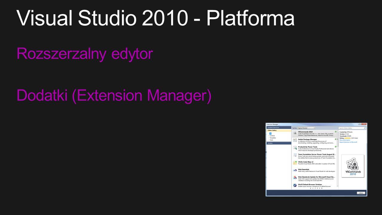 Rozszerzalny edytor Dodatki (Extension Manager)
