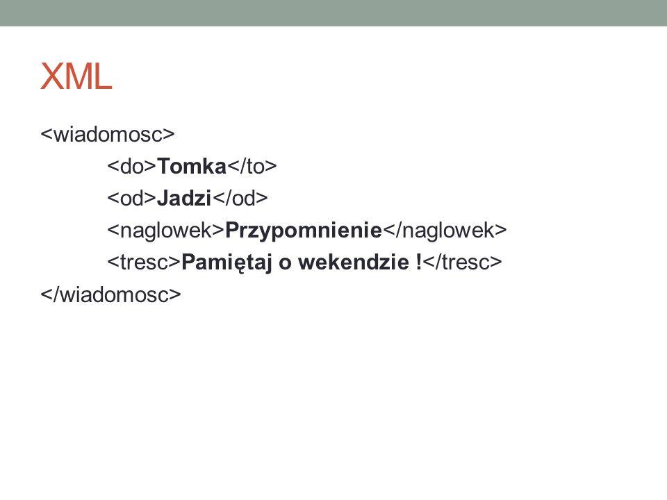 XML Tomka Jadzi Przypomnienie Pamiętaj o wekendzie !