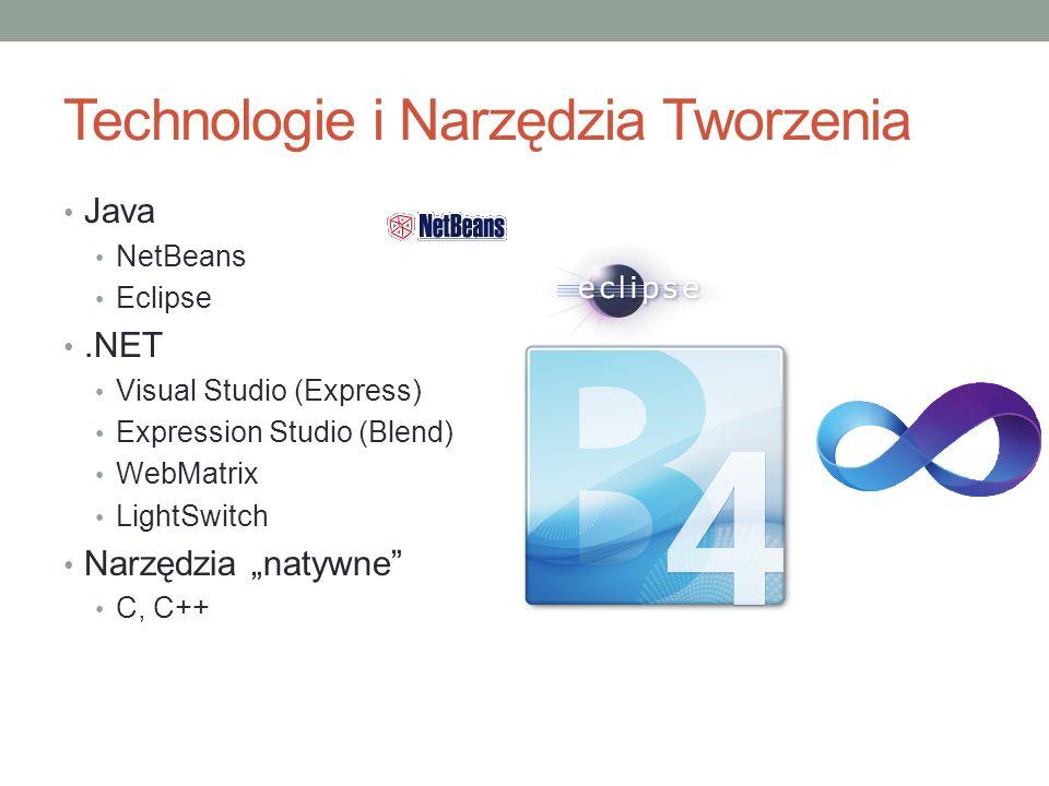Technologie i Narzędzia Tworzenia Java NetBeans Eclipse.NET Visual Studio (Express) Expression Studio (Blend) WebMatrix LightSwitch Narzędzia natywne