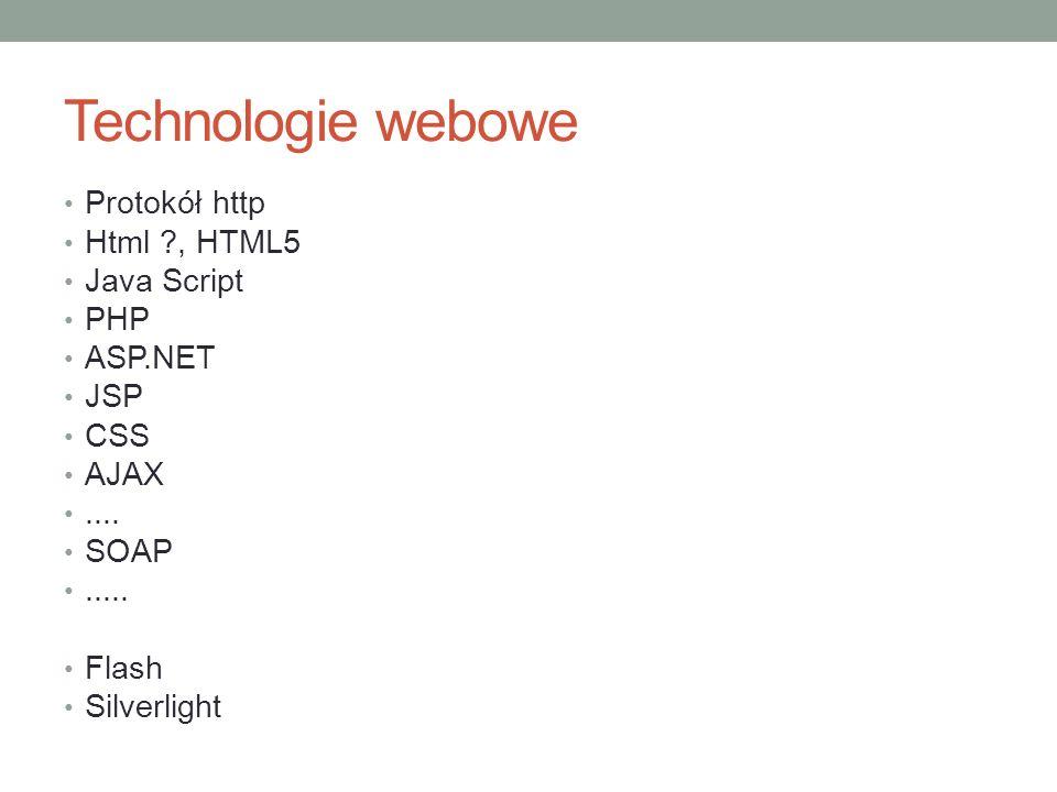 Technologie webowe Protokół http Html ?, HTML5 Java Script PHP ASP.NET JSP CSS AJAX.... SOAP..... Flash Silverlight