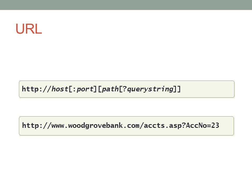 URL http://host[:port][path[?querystring]] http://www.woodgrovebank.com/accts.asp?AccNo=23