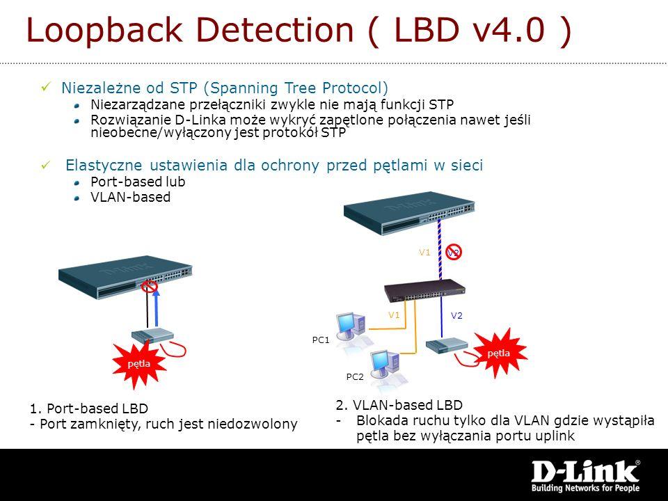 1. Port-based LBD - Port zamknięty, ruch jest niedozwolony 2. VLAN-based LBD -Blokada ruchu tylko dla VLAN gdzie wystąpiła pętla bez wyłączania portu