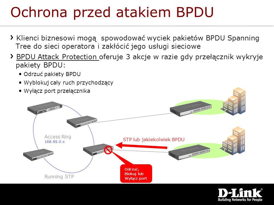 Access Ring 168.95.0.x Running STP STP lub jakiekolwiek BPDU Odrzuć, Blokuj lub Wyłącz port Ochrona przed atakiem BPDU Klienci biznesowi mogą spowodow