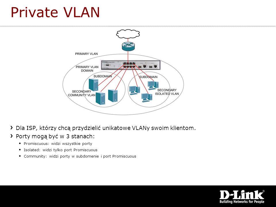 Private VLAN Dla ISP, którzy chcą przydzielić unikatowe VLANy swoim klientom. Porty mogą być w 3 stanach: Promiscuous: widzi wszystkie porty Isolated: